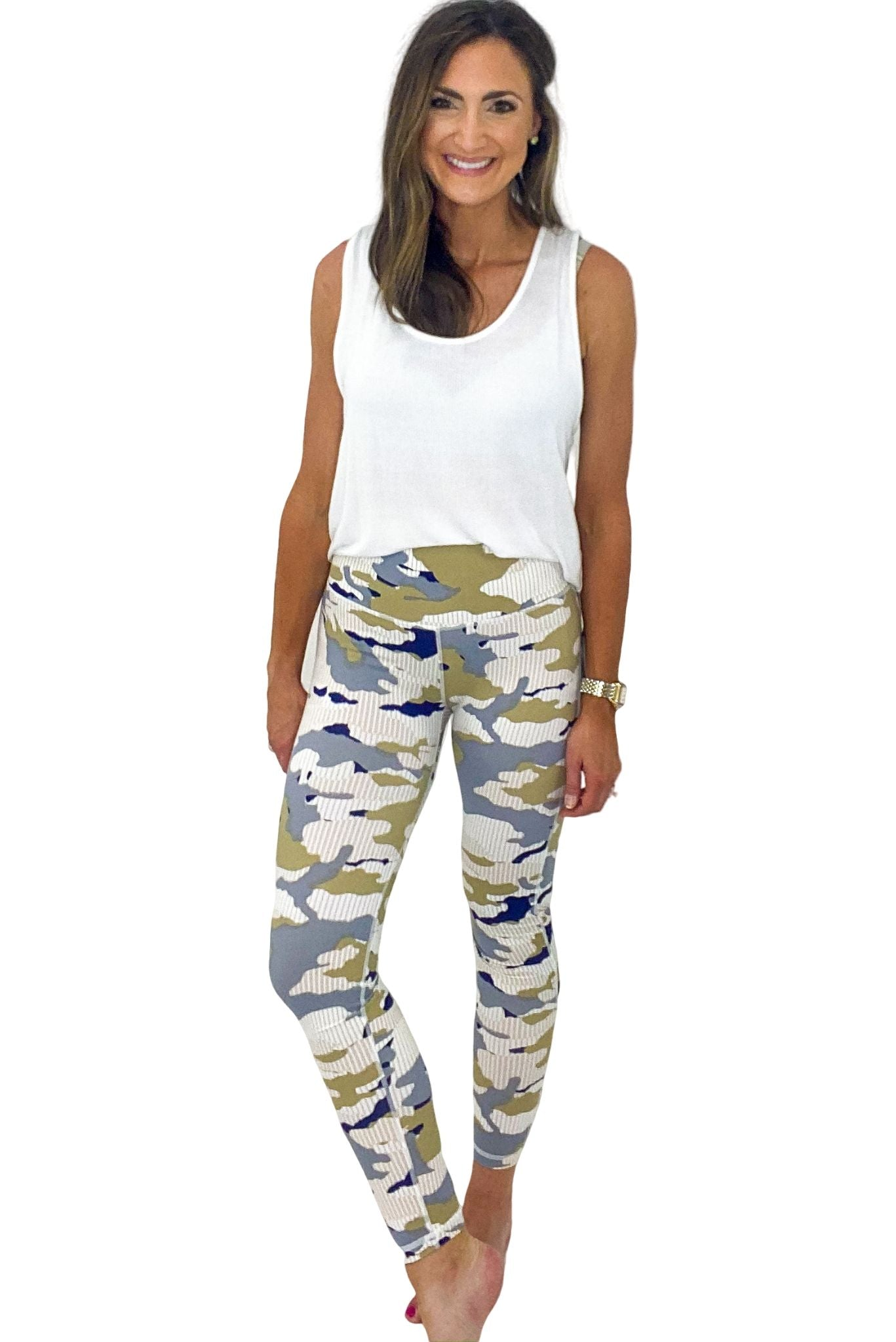 High Waisted Pastel Stripe Camo Leggings *FINAL SALE*