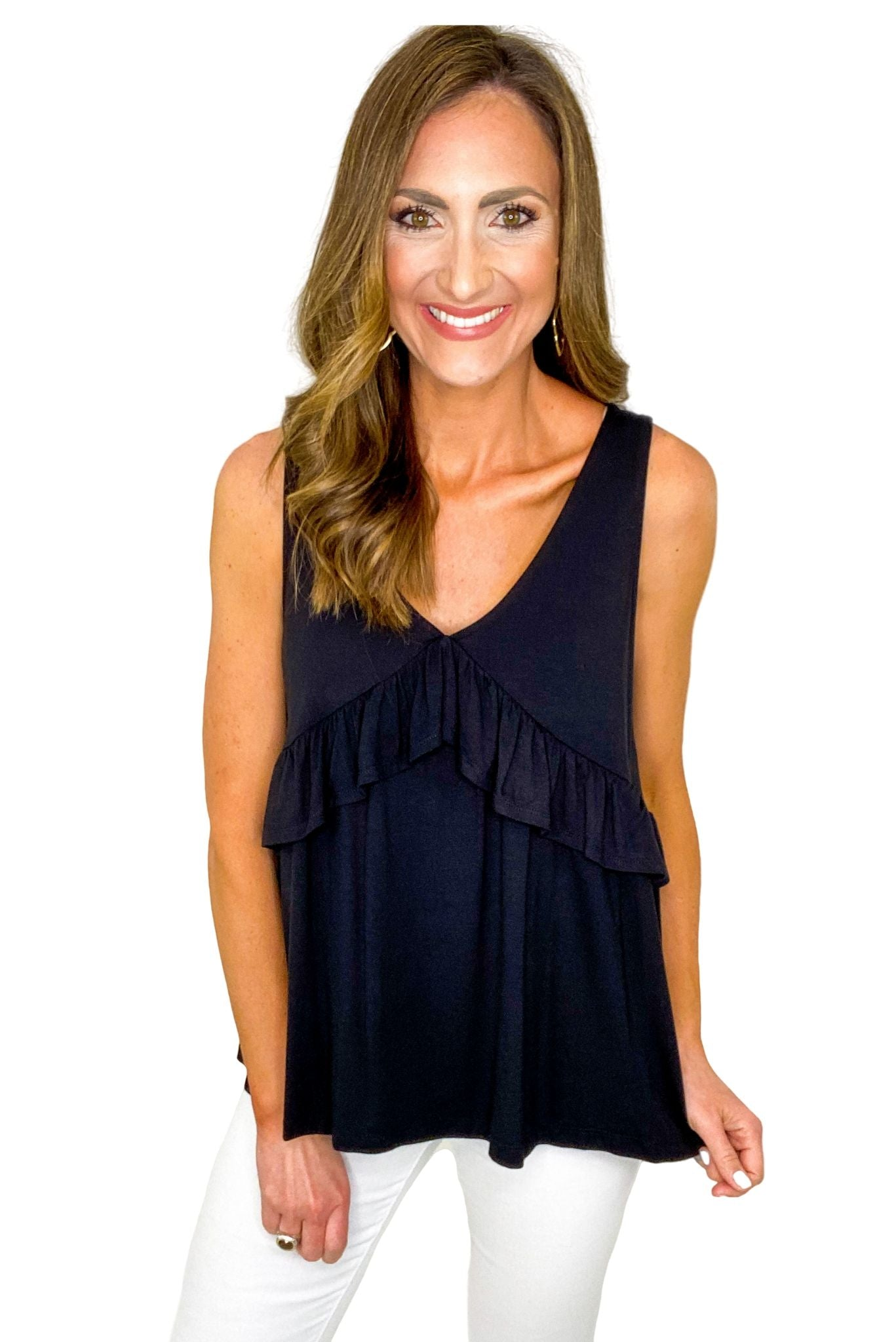 V Neck Tank w/ Ruffle Detail *FINAL SALE*