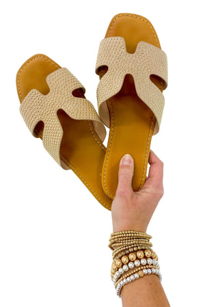 Nude Gold Studded Sandals