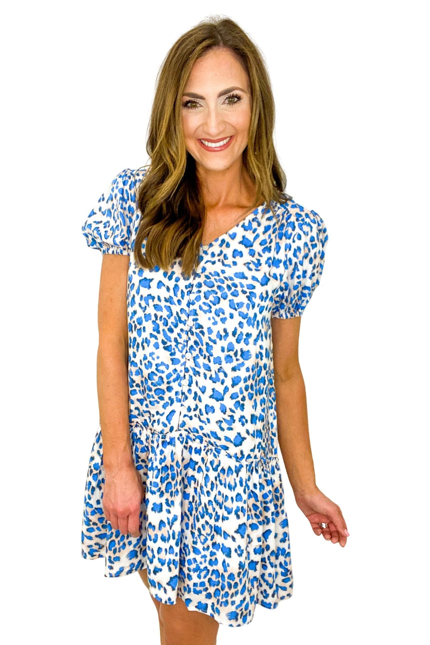 Blue Animal Print Drop Waist Dress *FINAL SALE*