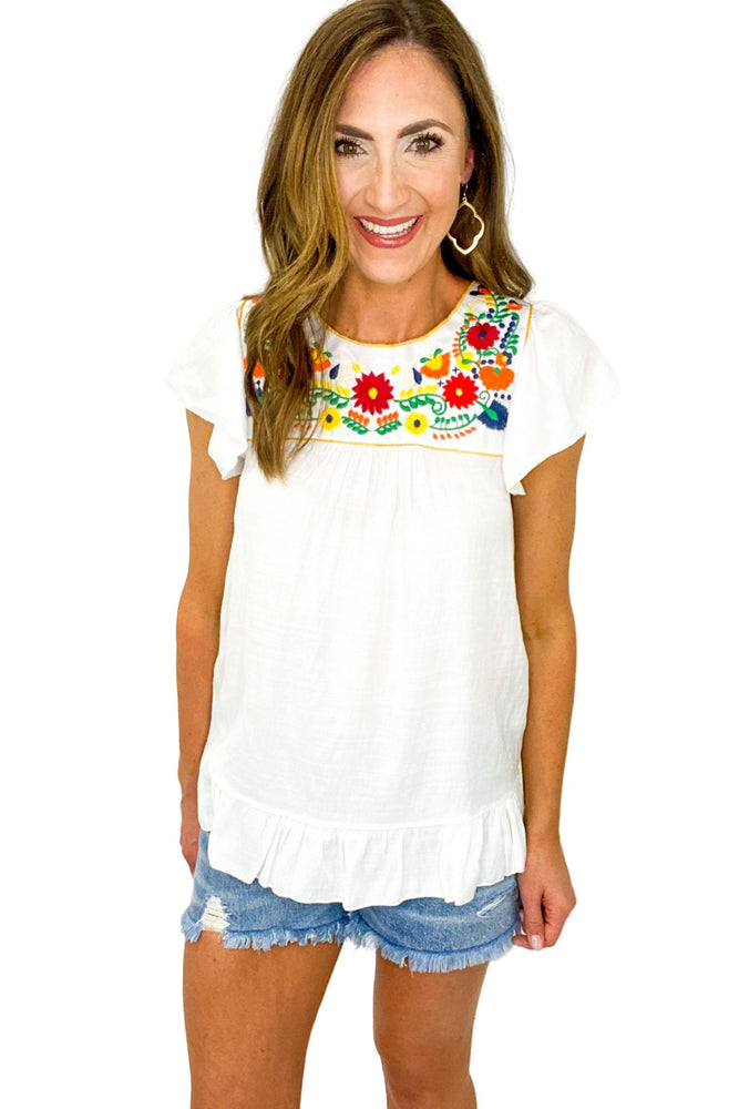 White Top w/ Colorful Floral Embroidery