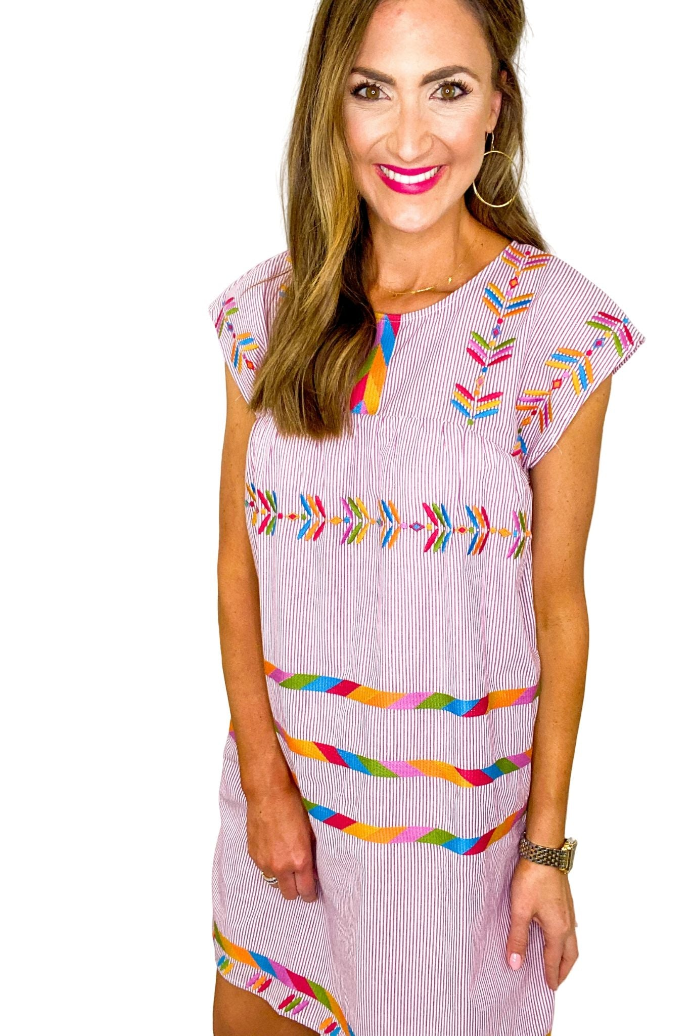 Purple Stripe Colorful Embroidered Dress *FINAL SALE*