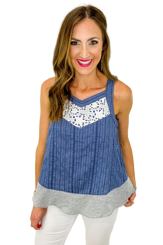 Load image into Gallery viewer, Denim Crossback Top w/ Eyelet Inset *FINAL SALE*