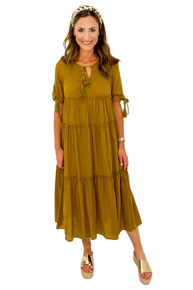 Load image into Gallery viewer, Moss Tiered Maxi Dress w/ Puff Sleeve *FINAL SALE*