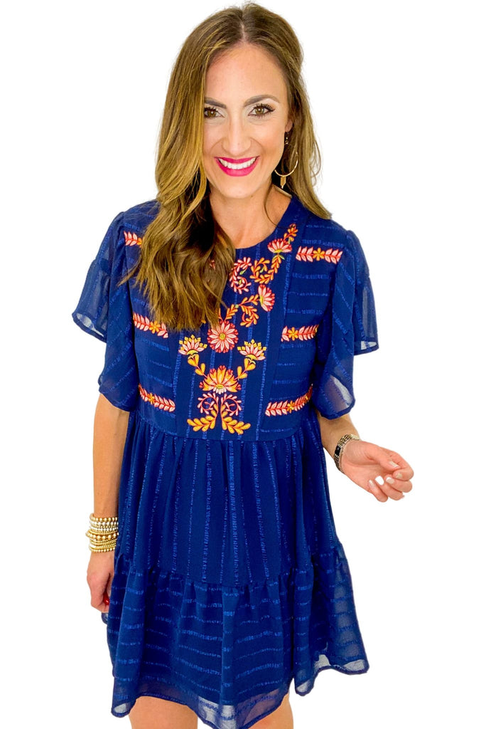 Navy Embroidered Flutter Sleeve Dress *FINAL SALE*