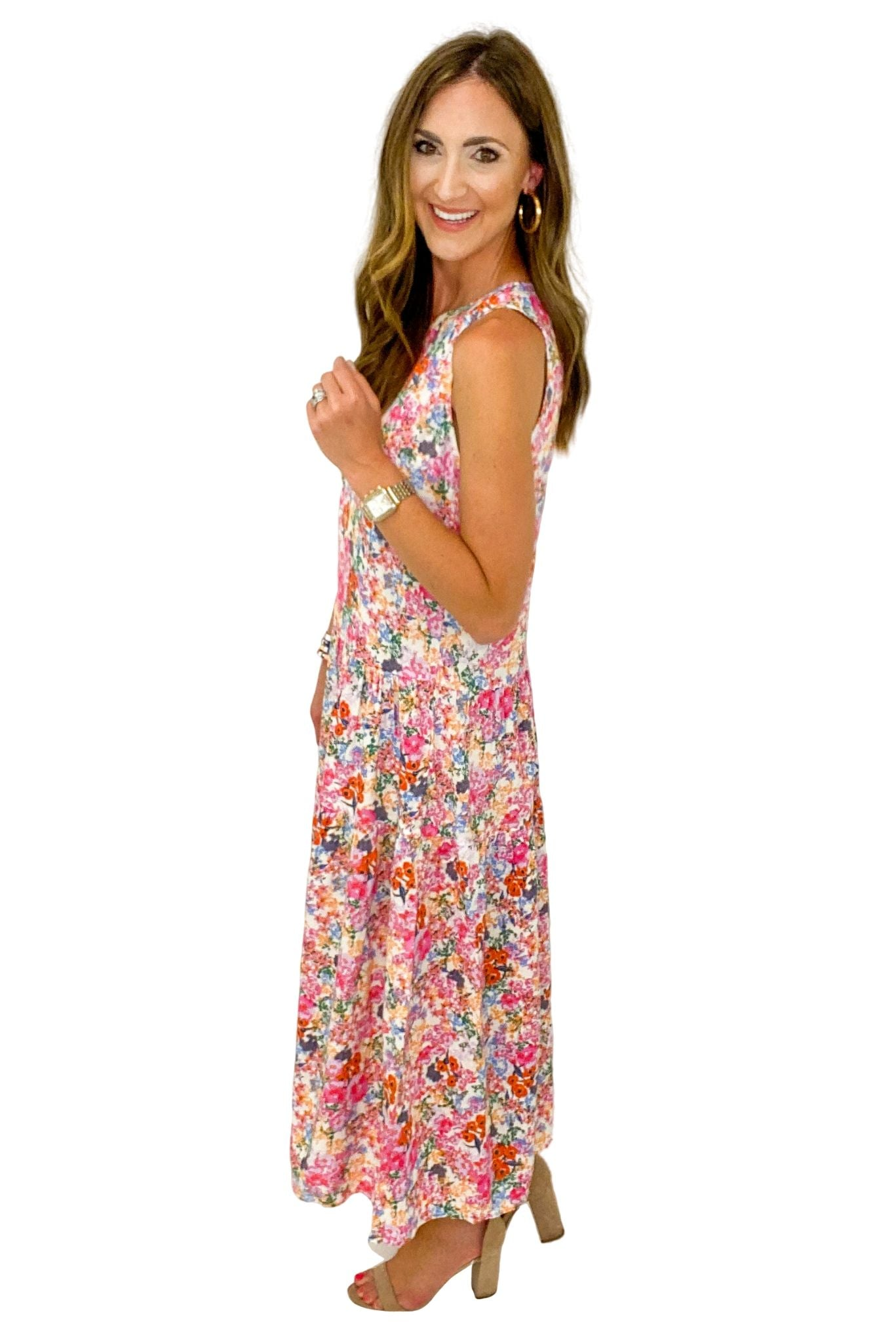 Ivory and Pink Floral Sleeveless Midi Dress