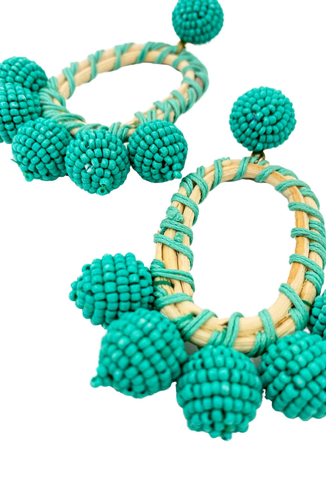 Turquoise and Wood Beaded Statement Earrings