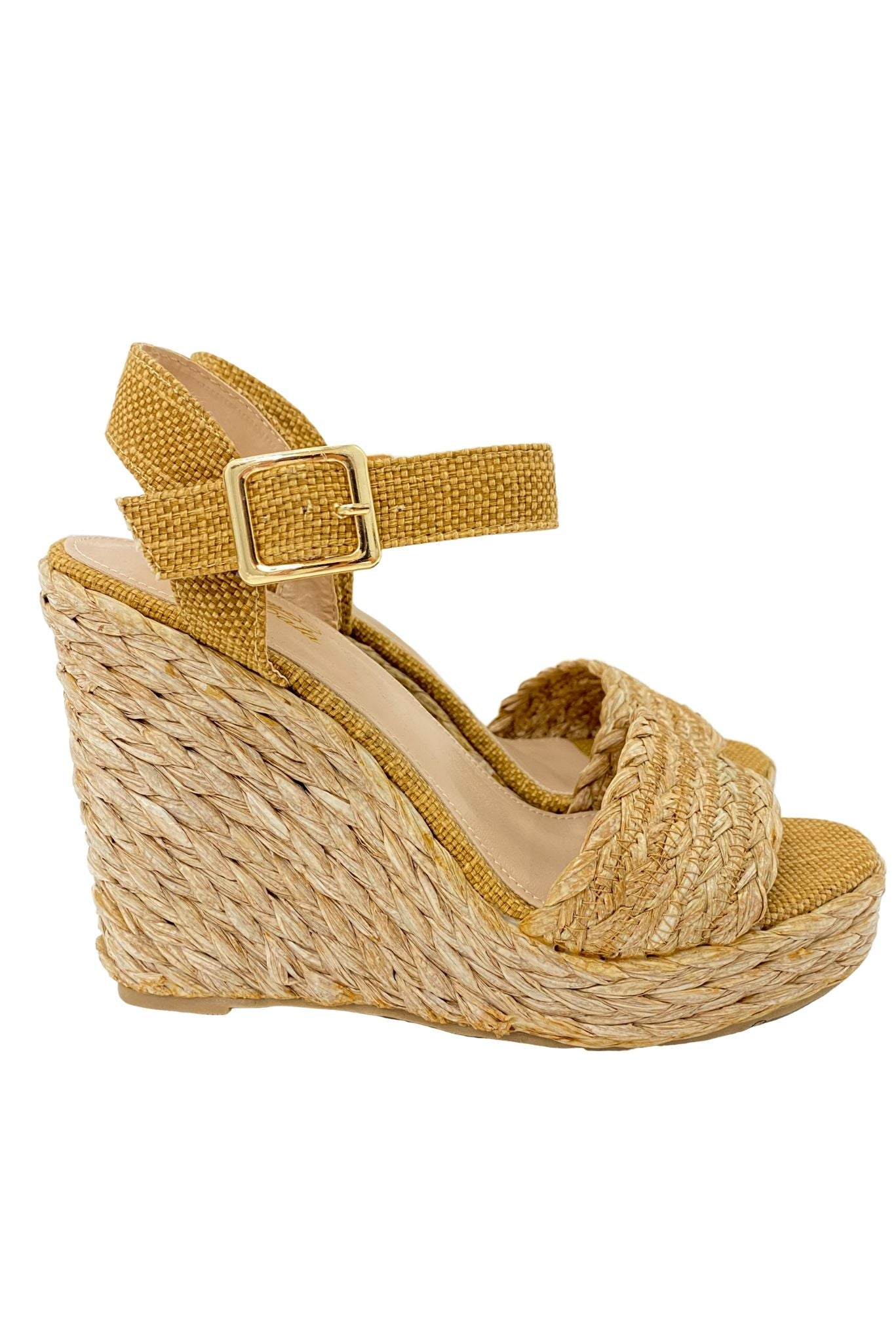Tan Raffia Wedges