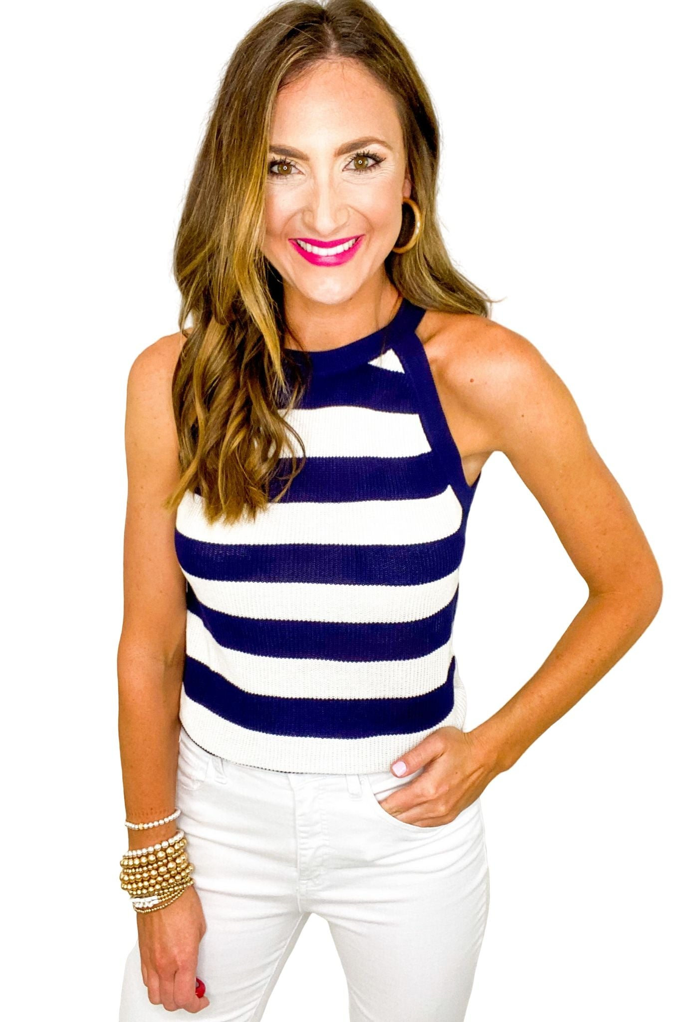 Navy and White Stripe Halter Sweater Tank *FINAL SALE*