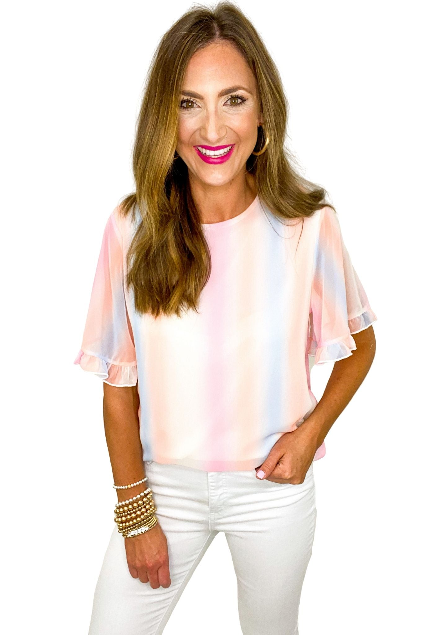 Pastel Tie Dye Stripe Ruffle Sleeve Top *FINAL SALE*