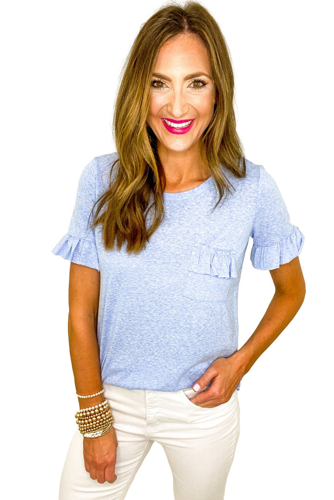 Marled Blue Ruffle Pocket Tee