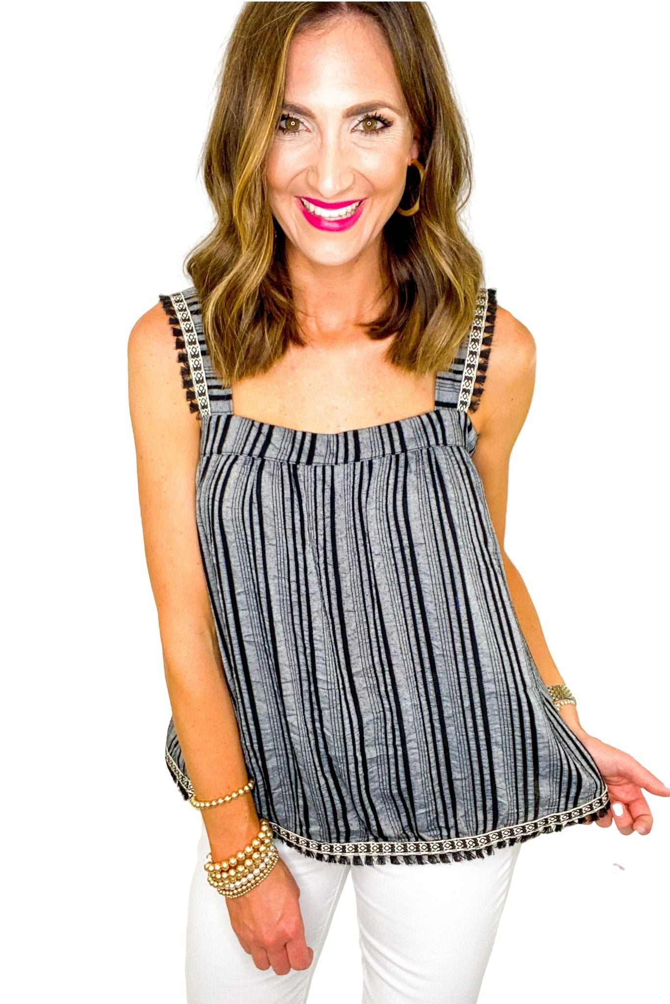 Black Strappy Stripe Top w/ Aztec Trim