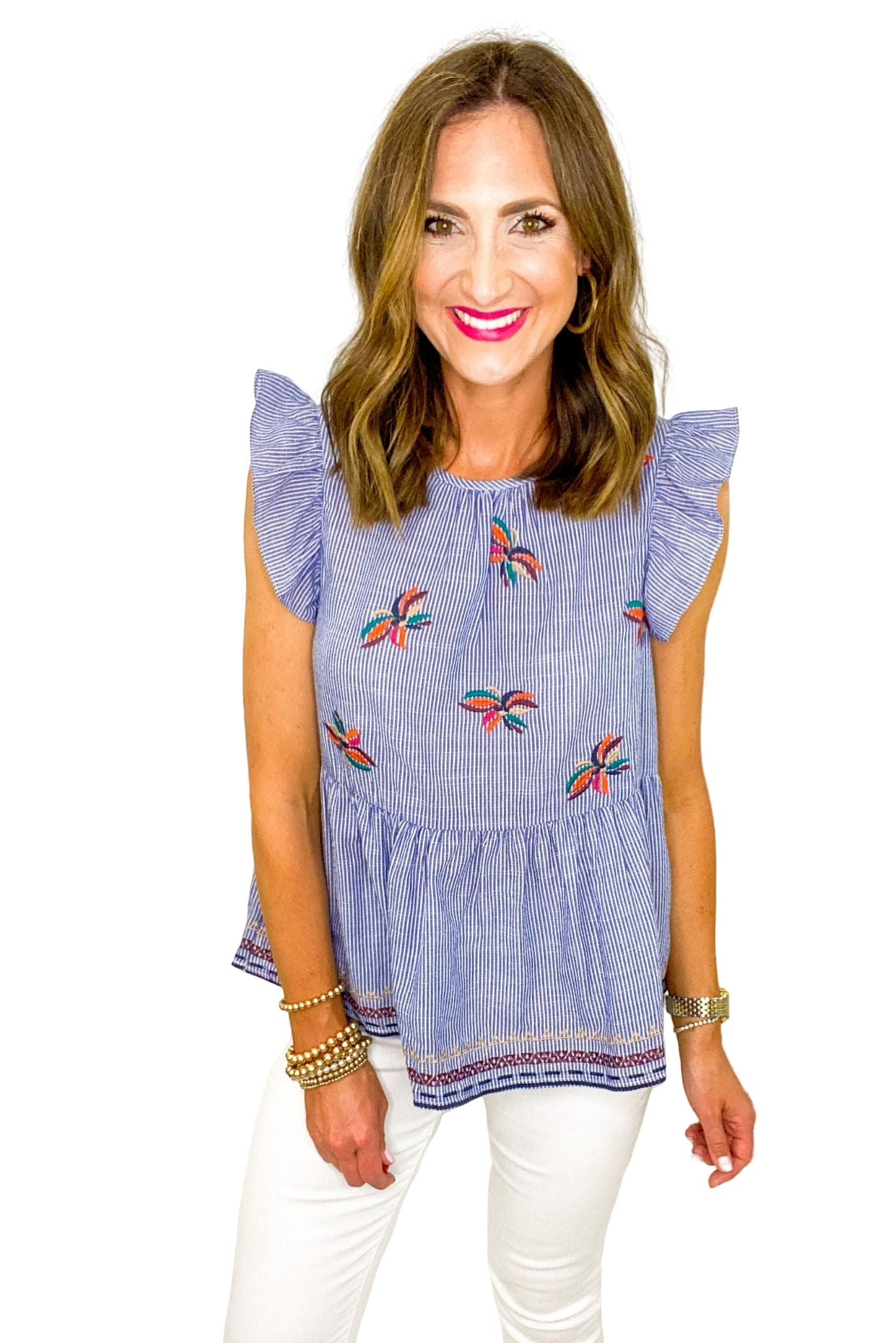 Blue Flutter Sleeve Top w/ Embroidery Details *FINAL SALE*