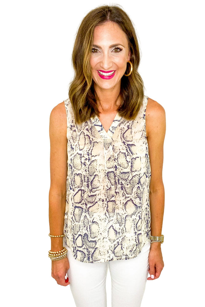 V Neck Scale Print Sleeveless Top