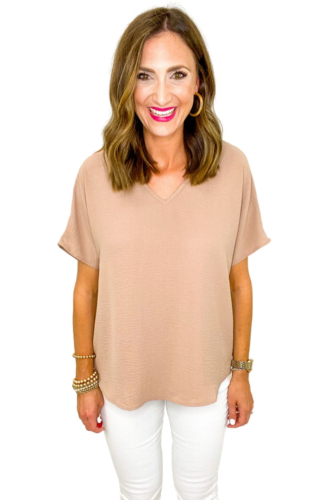 Latte V Neck Woven Top *FINAL SALE*