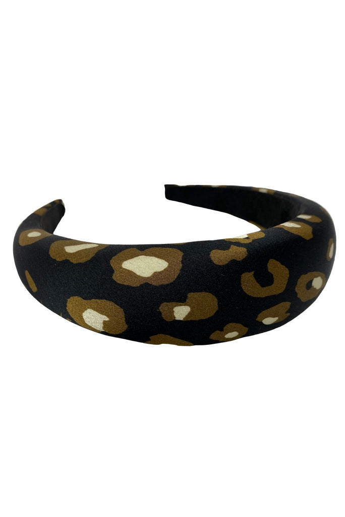 Black Animal Print Puffy Headband