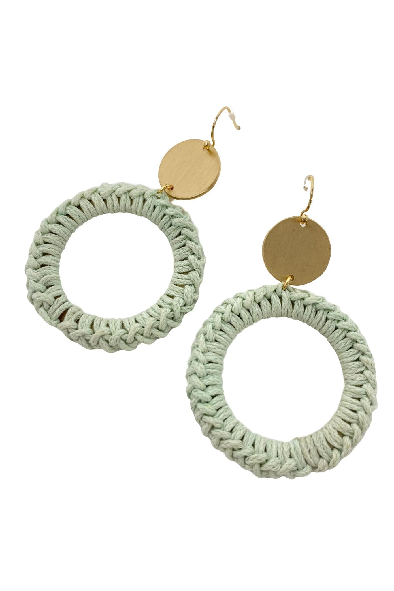 Mint Thread Wrapped Hoop Earrings