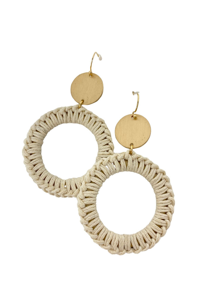 Natural Thread Wrapped Hoop Earrings