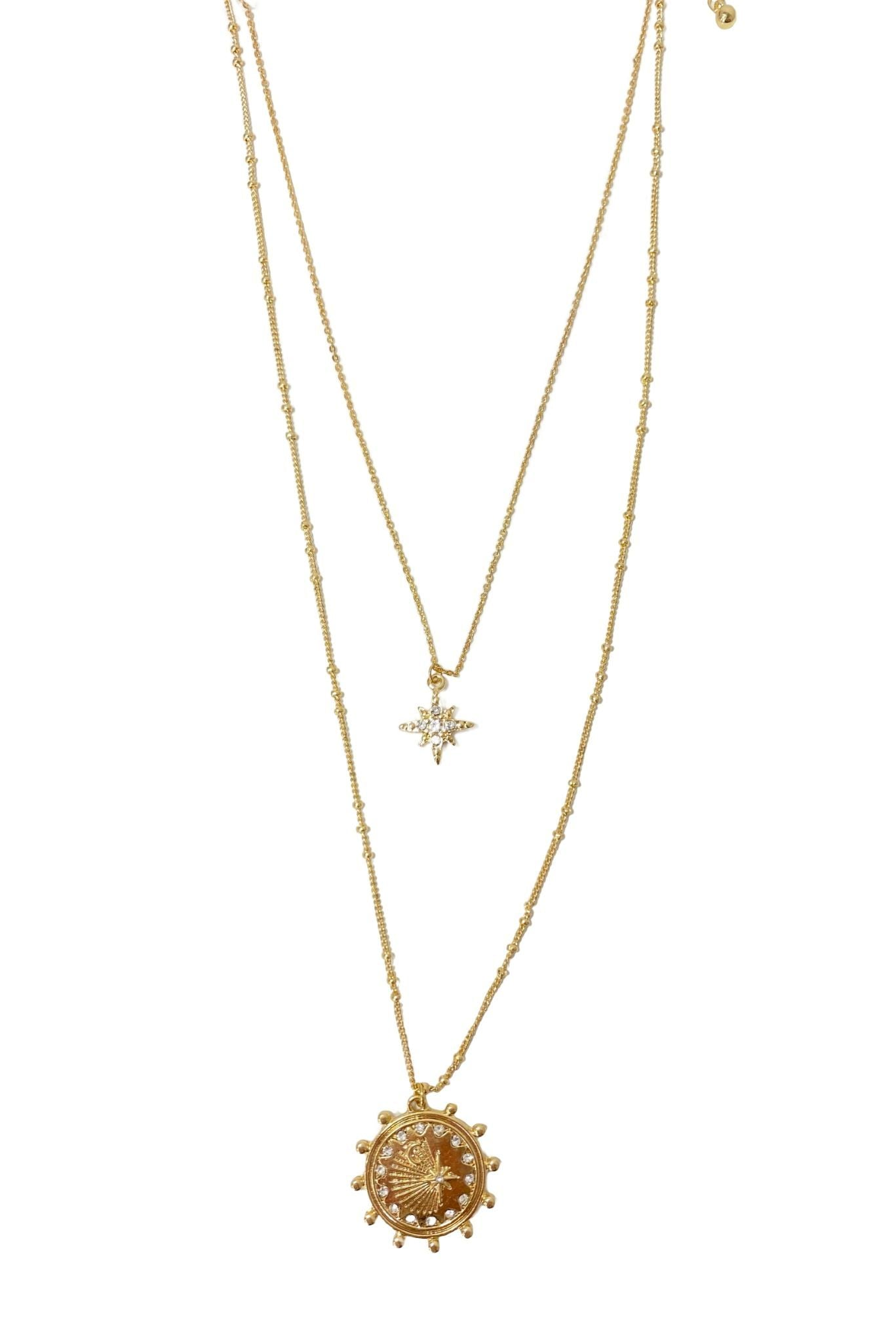 Gold Double Layer Necklace w/ Charms