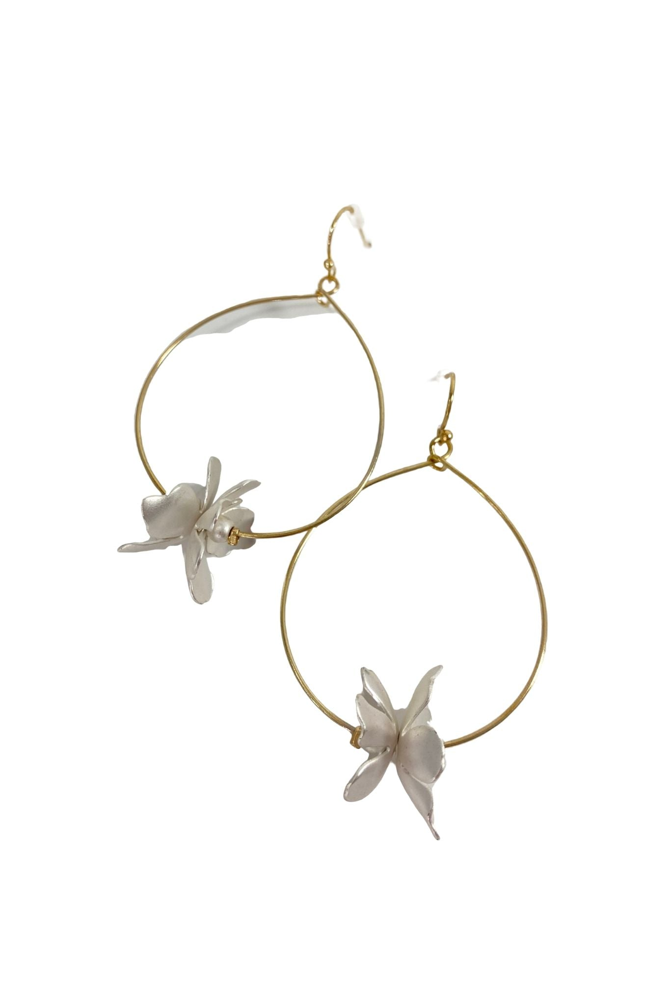 Gold Hoop Earrings w/ Double Silver Flower