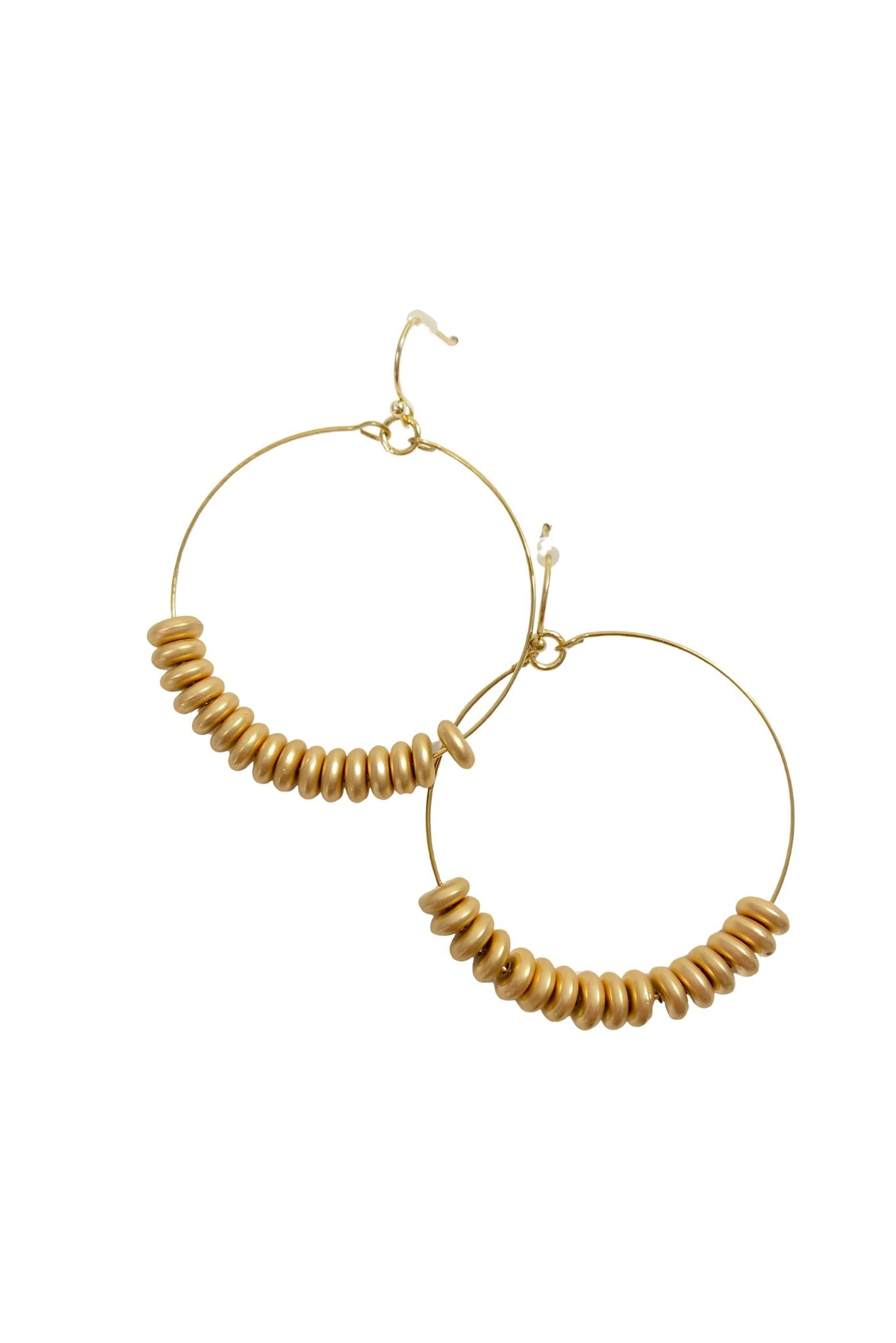 Gold Hoop Earrings w/ Beaded Discs