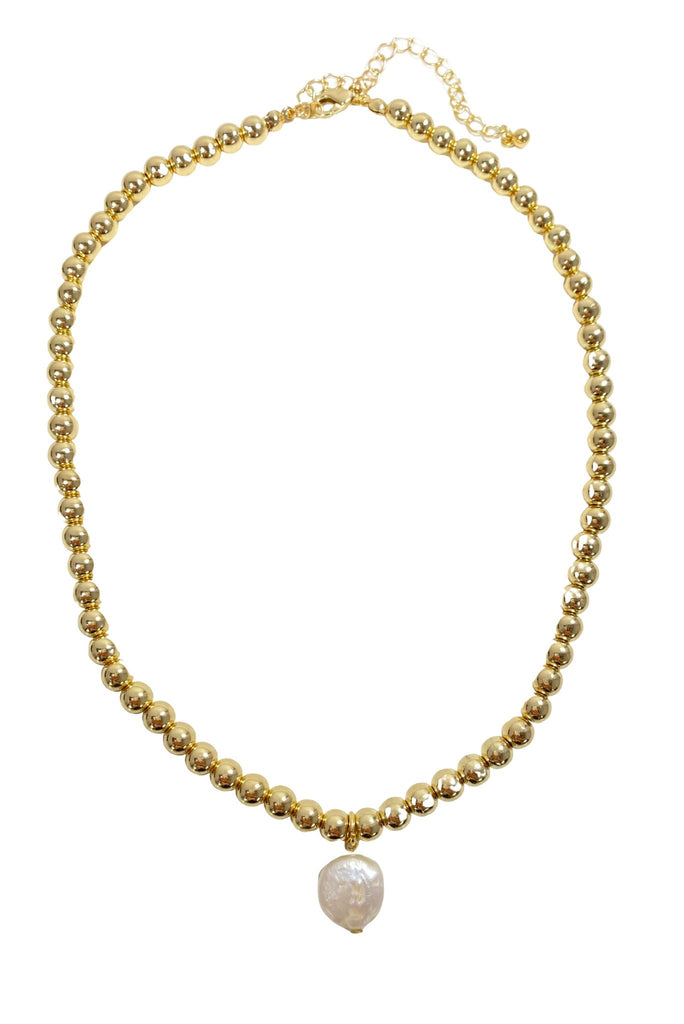 Gold Ball Necklace w/ Pearl Charm