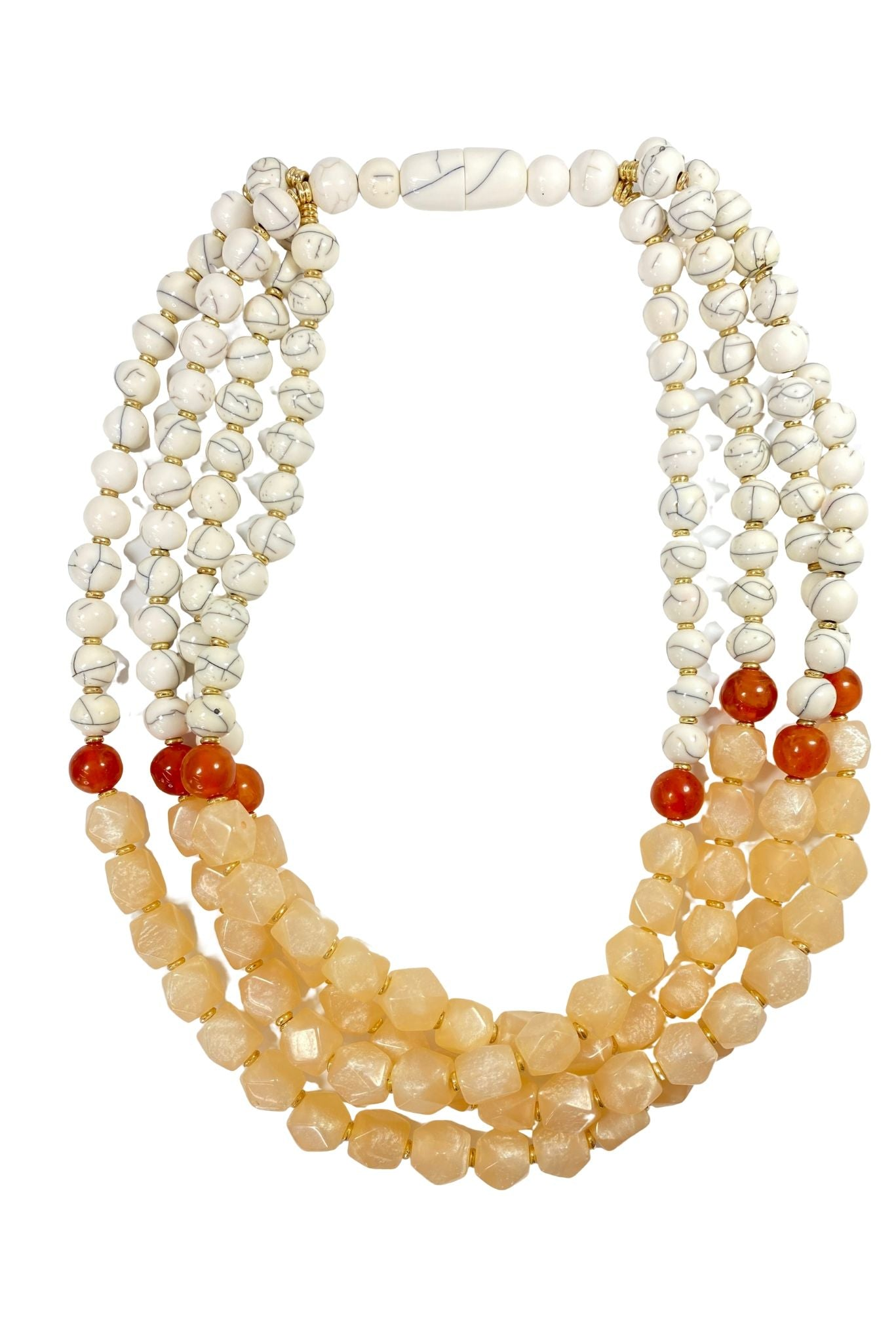 Neutral Multi Strand Statement Necklace