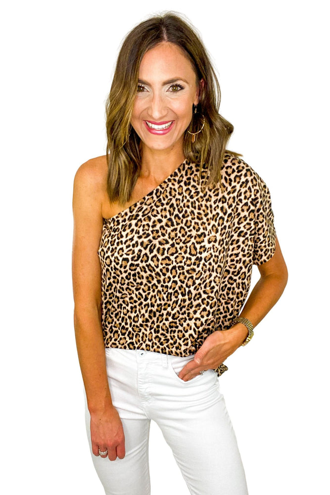 Animal Print One Shoulder Knit Top