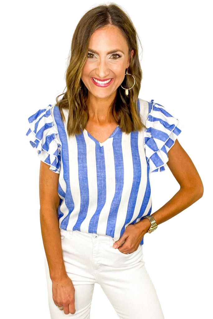 Blue Stripe Double Ruffle Sleeve Top *FINAL SALE*