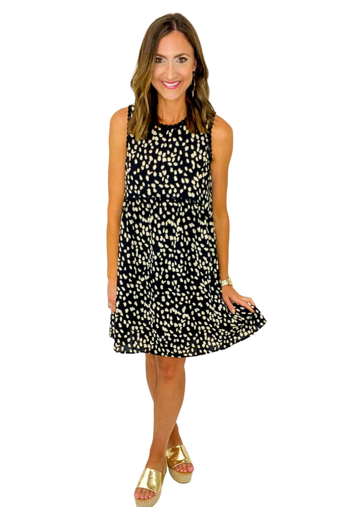 Black Spotted Sleeveless Dress w/ Lace Trim