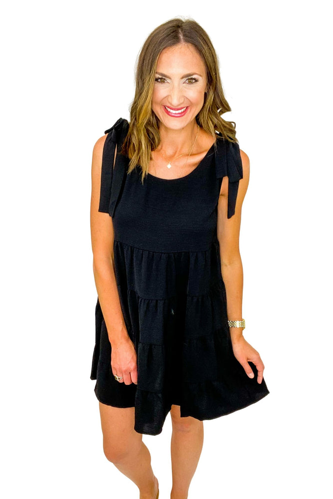 Black Tiered Tie Shoulder Dress