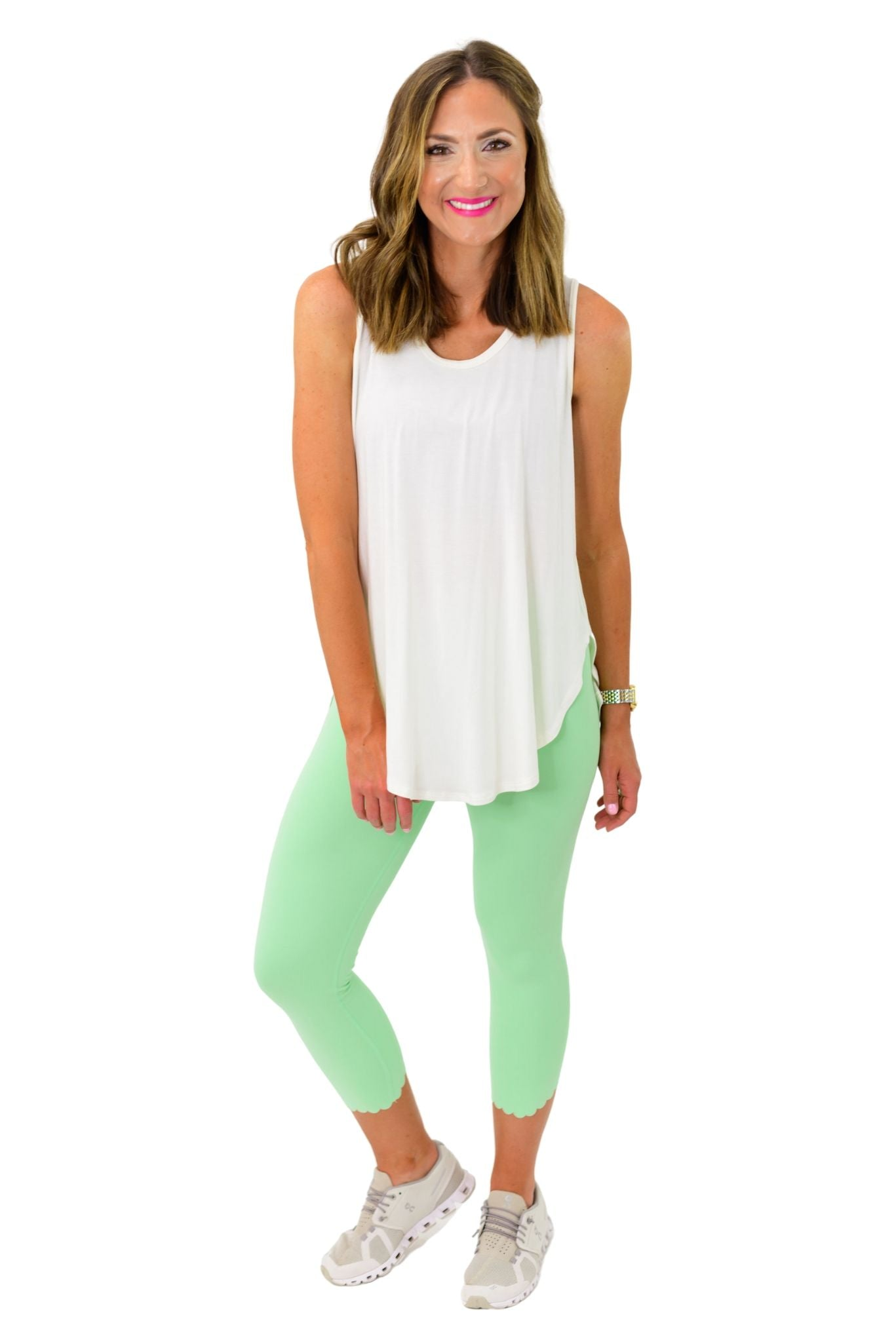 Ivory Scoop Neck Hi Low Tank *FINAL SALE*