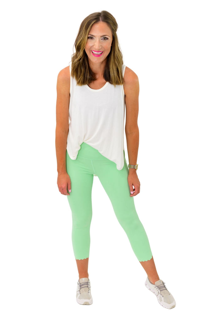 Mint Cropped Leggings w/ Scallop Trim