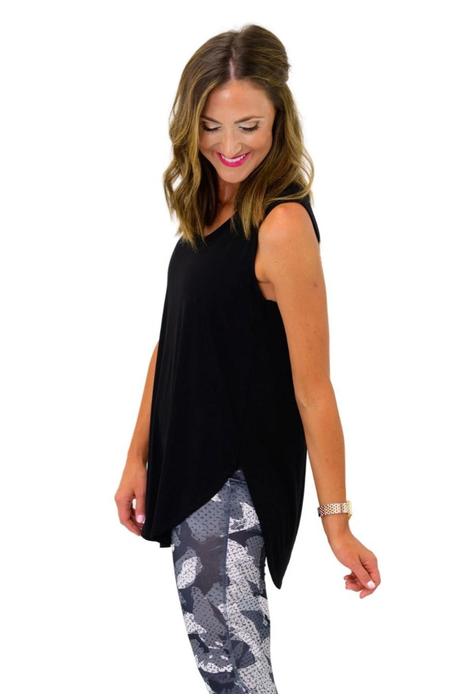 Black Scoop Neck Hi Low Tank