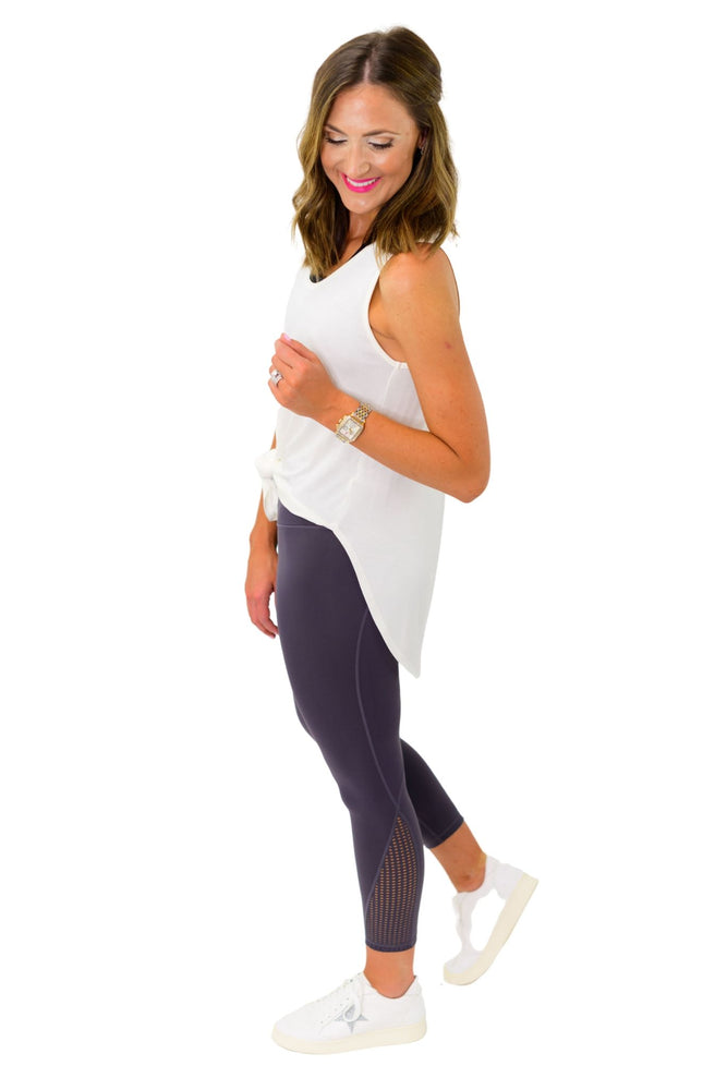 Ivory Scoop Neck Hi Low Tank