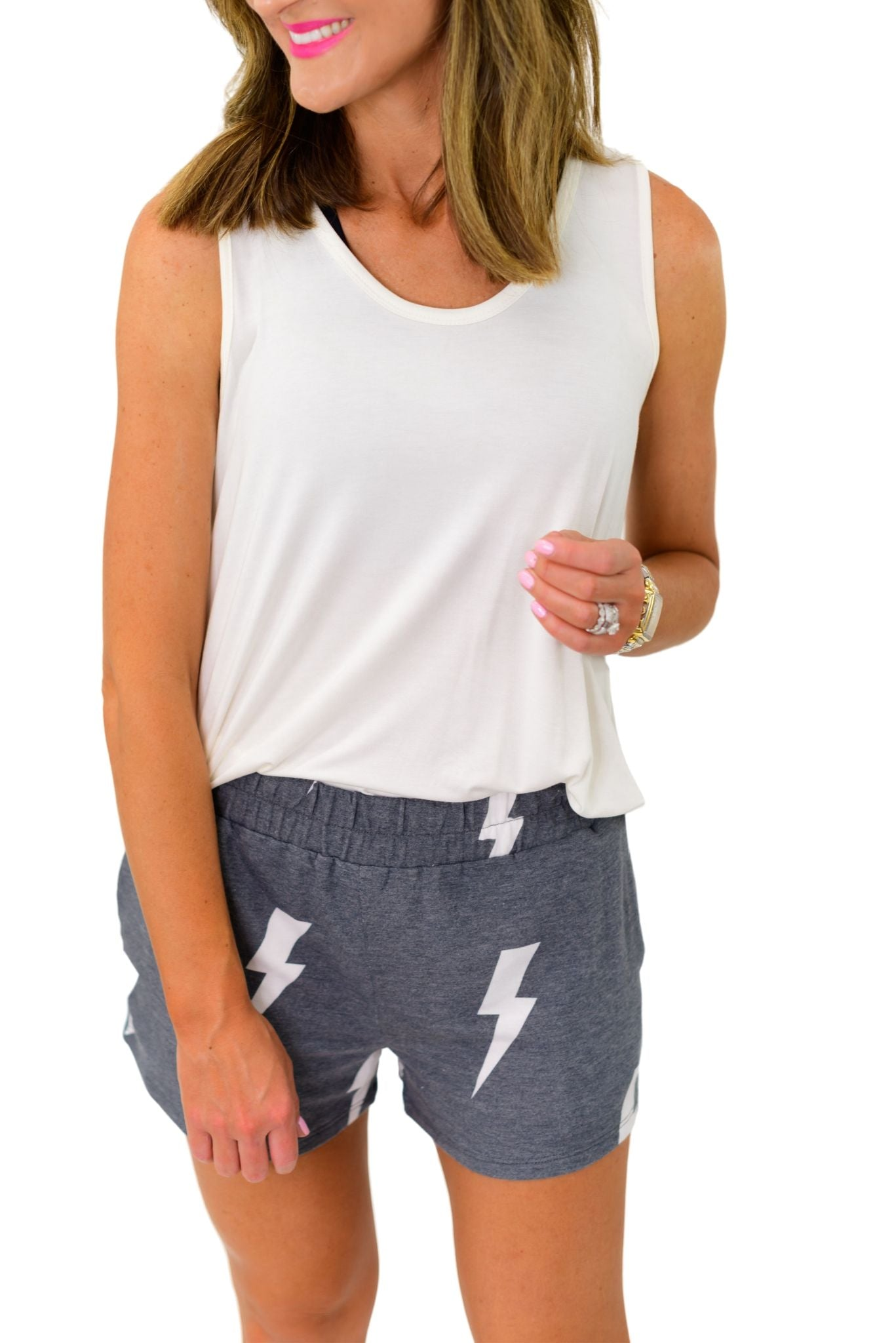 Charcoal Lightning Bolt Shorts *FINAL SALE*