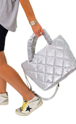 Silver Quilted Bag
