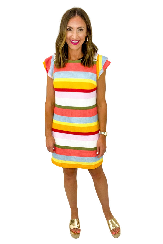 Multi Stripe Flutter Sleeve Dress