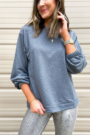 Load image into Gallery viewer, Charcoal Pullover Sweatshirt w/ Elastic Cuffs