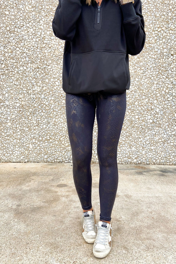 Black and Gold Scale Print Leggings