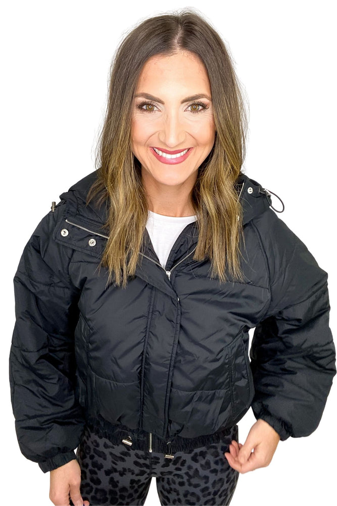 Load image into Gallery viewer, Black Hooded Puffer Jacket