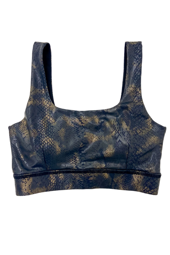 Black and Gold Scale Print Sports Bra
