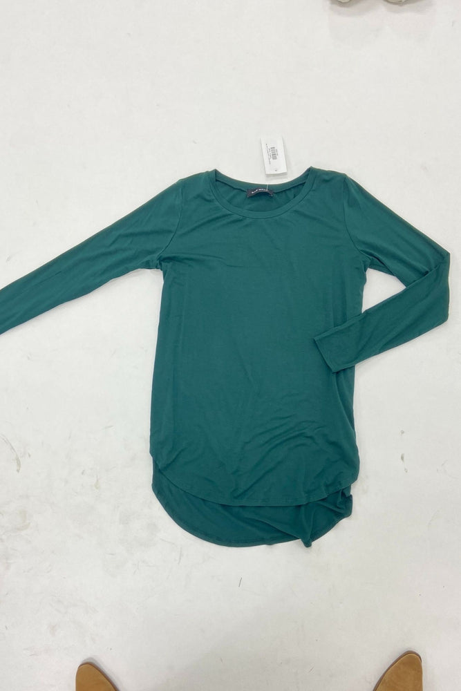 Load image into Gallery viewer, Hunter Green Long Sleeve Hi Low Tee