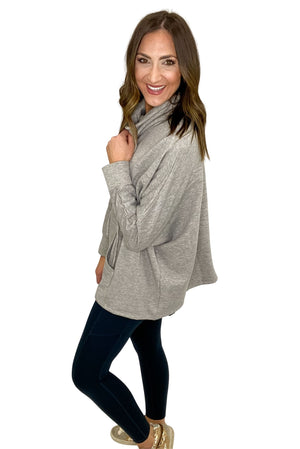 Heather Grey Cowl Neck Pullover w/ Pocket