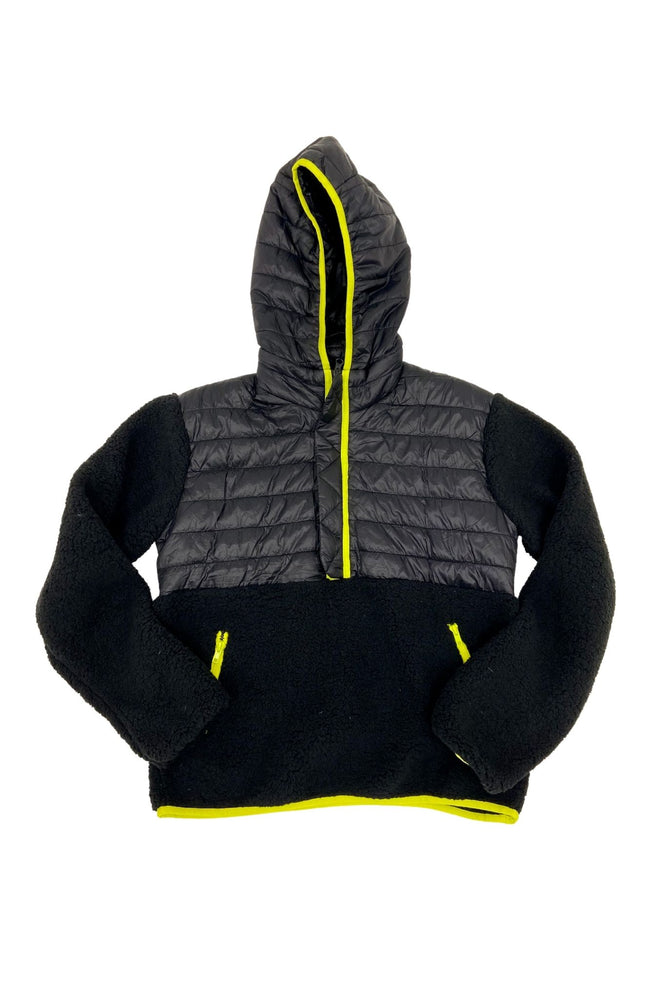 Load image into Gallery viewer, Black Puffer/Sherpa Hoodie w/ Neon Trim