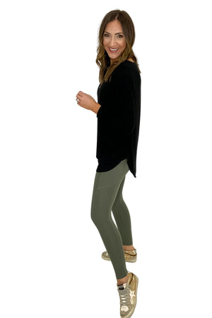 Load image into Gallery viewer, Light Sage Compression Leggings w/ Pocket