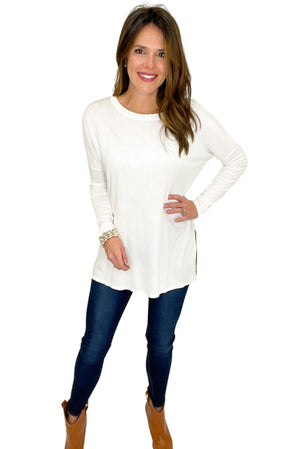ivory split hem lightweight sweater, skinny jeans, spring tops, shop style your senses by mallory fitzsimmons