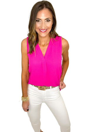 hot pink v neck sleeveless top, white skinny jeans, spring tops, shop style your senses by mallory fitzsimmons