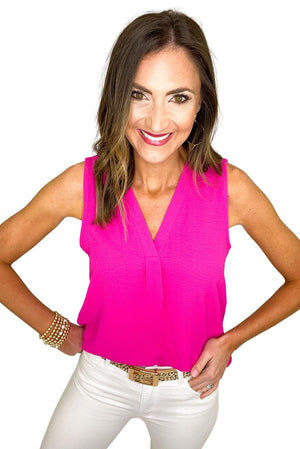 Load image into Gallery viewer, hot pink v neck sleeveless top, white skinny jeans, spring tops, shop style your senses by mallory fitzsimmons