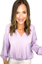 lavender long sleeve satin top w/ elastic hem, white skinny jeans, spring tops, shop style your senses by mallory fitzsimmons